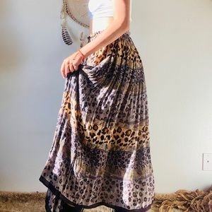 Vintage Safari Boho Indian Maxi Skirt